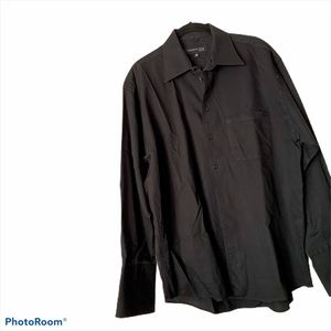 Kenneth Cole Black Button Down Shirt-French Cuffs
